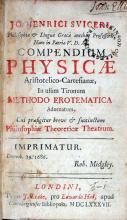 Compendium Physciae Aristotelico-Cartesianae, In usum Tironum Methodo...