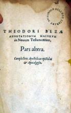 Annotationvm Maiorvm in Nouum Testamentum, Pars altera
