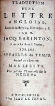 Traduction D'une Lettre Angloise, Ecrite de la Haye le 4. Novembre 1718...