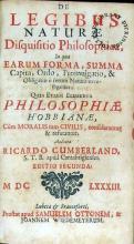 De Legibus Naturae Disquisitio Philosophica, In qua Earum Forma...