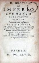De Imperio Svmmarvm Potestatvm Circa Sacra Commentarius postumus