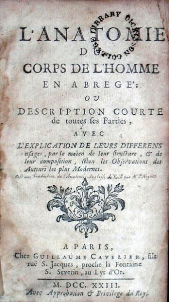 L'Anatomie Du Corps De L'Homme En Abregé: Ou Description Courte...