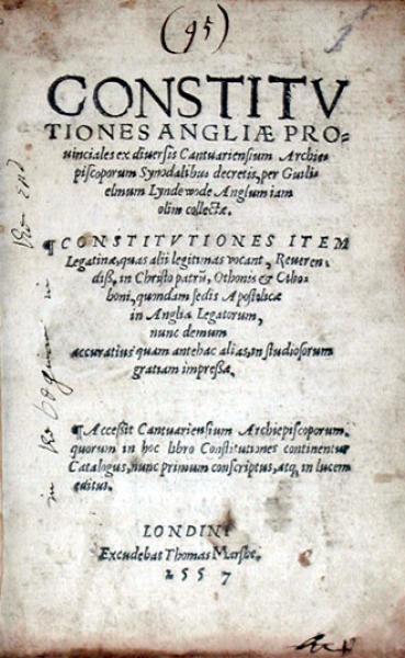 Constitvtiones Angliae Prouinciales ex diuersis...