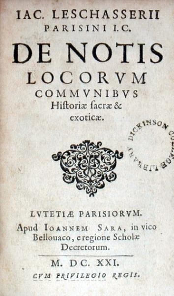 De Notis Locorvm Commvnibvs Historiae sacrae & exoticae