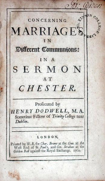 Concerning Marriages In Different Communions: In A Sermon At Chester...