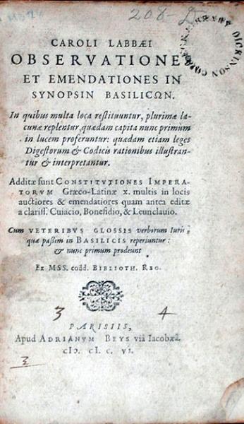 Observationes Et Emendationes In Synopsin Basilicωn...