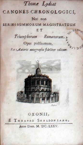 Canones Chronologici, Nec non Series Summorum Magistratuum...