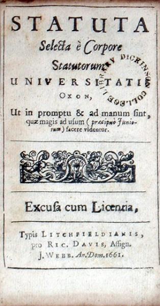 Statuta Selecta è Corpore Statutorum Universitatis Oxon