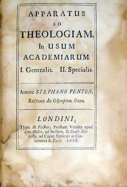 Apparatus Ad Theologiam, In Usum Academiarum. Specialis (II)