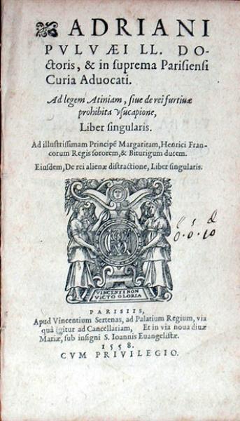 Ad legem Atiniam, siue de rei furtiuae prohibita vsucapione...