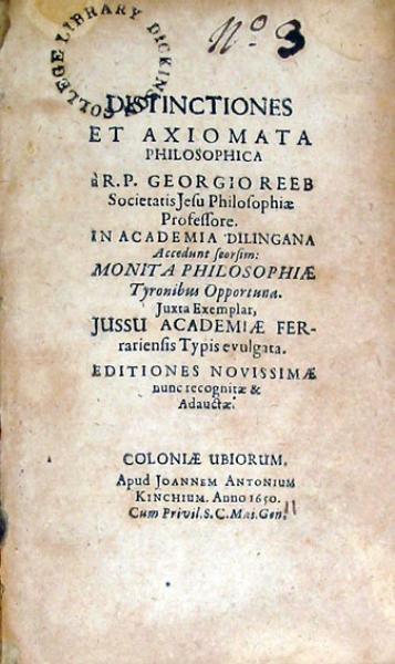Distinctiones Et Axiomata Philosophica