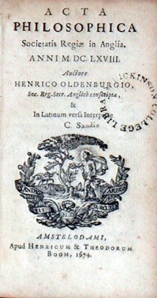 Acta Philosophica Societatis Regiae in Anglia, Anni M.DC.LXV... (I, III)
