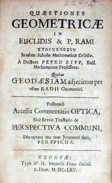 Quaestiones Geometricae In Euclidis & P. Rami Στοιχειωσιν In usum...