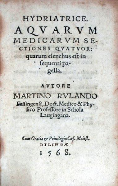 Hydriatrice. Aqvarvm Medicarvm Sectiones Qvatvor
