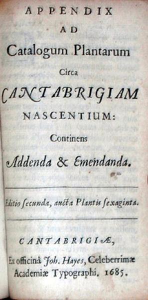 Appendix Ad Catalogum Plantarum Circa Cantabrigiam Nascentium