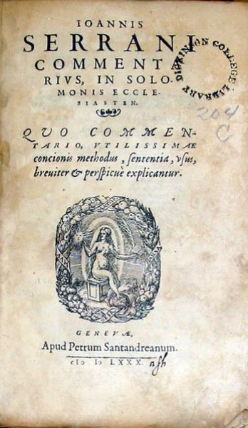 Commentarivs, In Solomonis Ecclesiasten