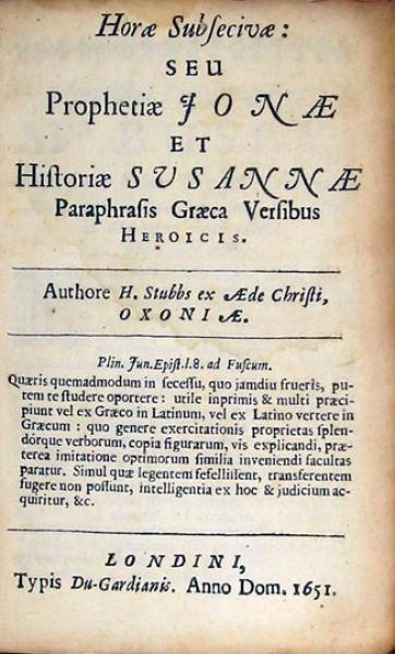 Horae Subsecivae: Seu Prophetiae Jonae Et Historiae Susannae