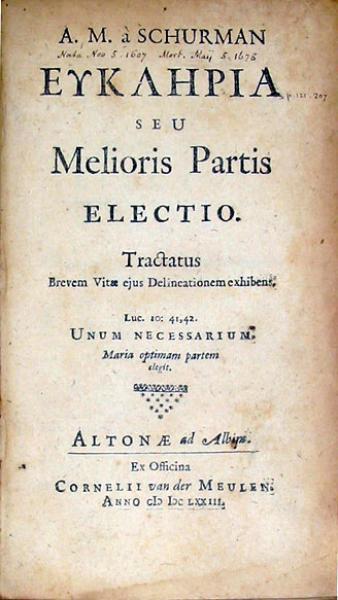 Ευκληρια Seu Melioris Partis Electio (I)