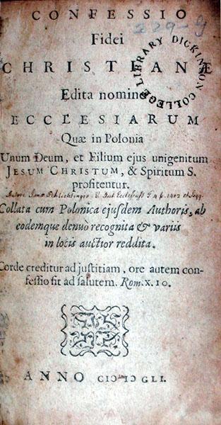 Confessionio Fidei Christianae Edita nomine Ecclesiarum Quae in Polonia...