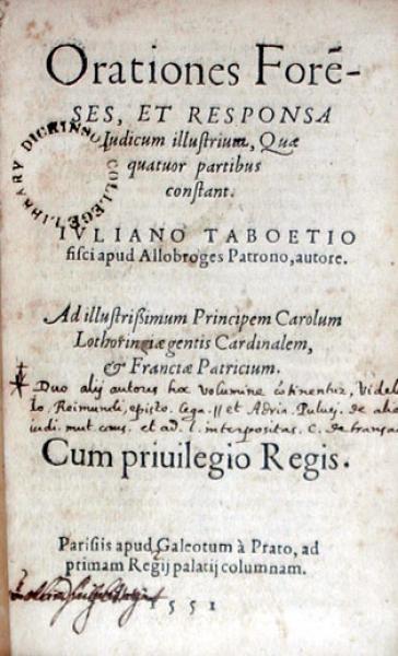 Orationes Foreses, Et Responsa Iudicum illustrium