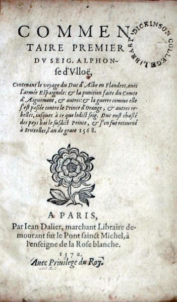 Commentaire Premier…Contenant le voyage du Duc d'Albe en Flandres...