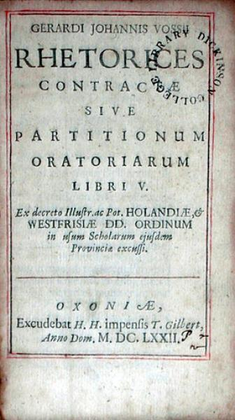 Rhetorices Contractae Sive Partitionum Oratoriarum
