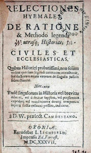 Relectiones Hyemales, De Ratione & Methodo legendi utrasq...