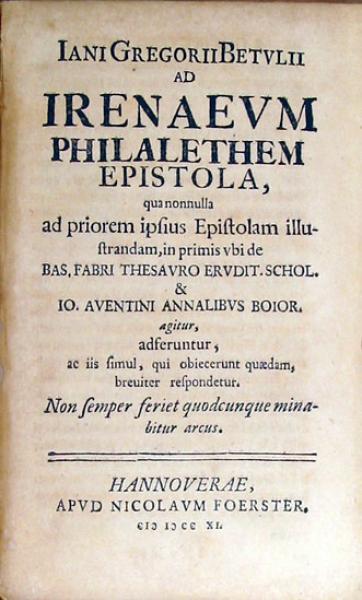 Ad Irenaevm Philalethem Epistola