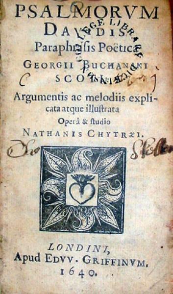Psalmorvm Davidis Paraphrasis Poëticae Georgii Buchanani
