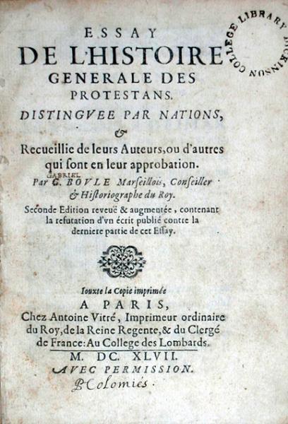 Essay De L'Histoire Generale Des Protestans...