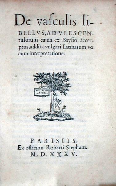 De vasculis libellvs…ex Baysio decerptus