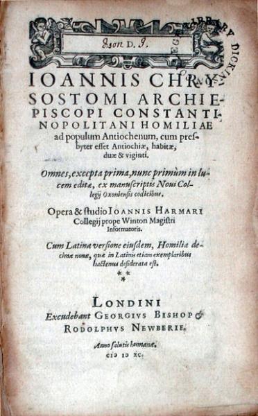 Homiliae ad populum Antiochenum, cum presbyter esset Antiochiae...