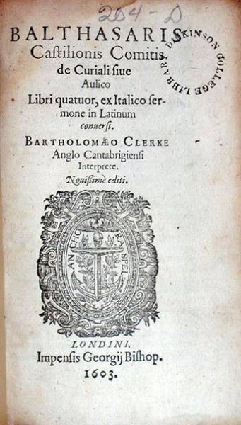 De Curiali siue Aulico Libri quatuor, .Nouissimè editi