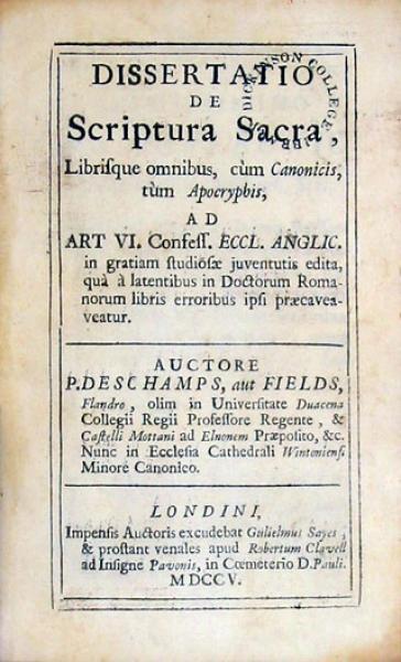 Dissertatio de Scriptura Sacra, Librisque omnibus, cùm Canonicis...