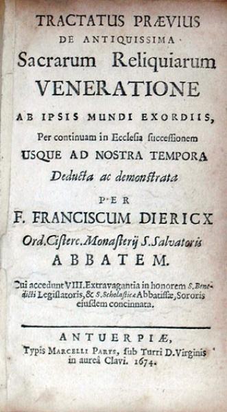 Tractatus Praevius De Antiquissima Sacrarum Reliquiarum Veneratione...