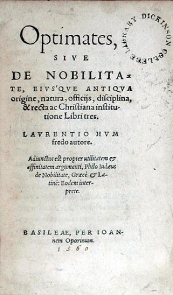 Optimates, Sive De Nobilitate, Eivsqve Antiqva origine, natura, officijs...