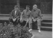 Joseph Stalin, Maxim Gorky, and Abel Yenukidze, Moscow, August 1931